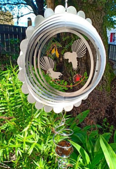 Fantail And Flowers Wind Spinner